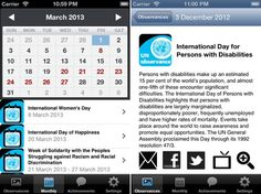 App to help keep track of UN Action Days and special observances.