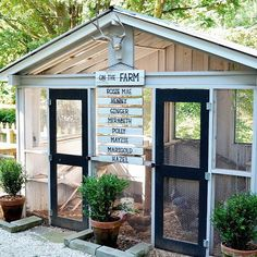 """We love how this family didn't stop at designing their own chicken coop--they added an """"on the farm"""" sign listing the names of all its feathered residents too! ( via @rygblog) #country #chicken #coops"""