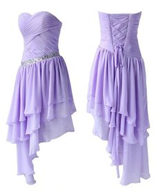 Simple Homecoming Dresses,Chiffon Homecoming Dresses,High Low Prom Dresses,Strapless Party Dresses