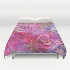 This artwork shows several beautiful pink roses on a colourful impasto painted textured background. (roses, rose, painterly, grunge...