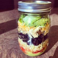 Because mason jars aren't just for salads. Make yourself an easy and nutritious burrito bowl instead! These are perfect for quick lunches. Layer : guac salsa rice beans chicken cheese & lettuce. When it comes time to eat I take the lettuce out & put it in a bowl then microwave the jar 1-2 minutes pour over lettuce and devour.  Sure the  and  get warm but it doesn't bother me! And the convenience more than makes up for it. No special cooking just make big batches of each ingredient. For rice…