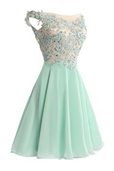 VP Women´s Lace Short Prom Gown Homecoming Party Dress with Straps Ocean Blue