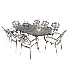 71f2fbf50f2 Cast Aluminium 213 Large Oval Table With 8 Brompton Chairs - Autumn Rust - Regatta  Garden Furniture Essex