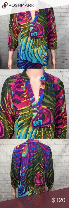 ✨NEW✨ TRINA TURK Colorful Abstract Print Blouse Brand new without tags. Stunning print and colors! Material .. silk .. cotton.. spandex. Trina Turk Tops