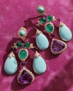 Ornaments — for ears. Amethyst, turquoise, and emerald statement earrings by @davidwebbjewels.