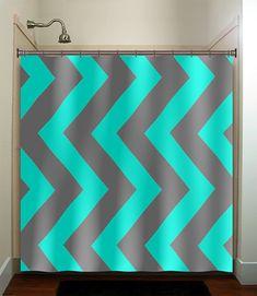 black and turquoise shower curtain. turquoise aqua blue gray vertical chevron shower curtain bathroom decor  fabric kids bath white black custom