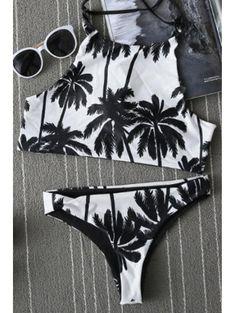 Spaghetti Straps Print Bikini Set #womensfashion #pinterestfashion #buy #fun#fashion