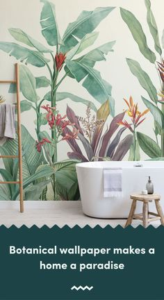 Green Vintage Tropical Minimalist Wallpaper Mural - Welcome fresh tropicals into your space full of stylish tone and detail, with the Green Vintage Tro - B&q Wallpaper, Watercolor Wallpaper, Green Wallpaper, Bathroom Wallpaper, Pattern Wallpaper, Wallpaper Ideas, Tropical Wallpaper, Botanical Wallpaper, Botanical Bathroom