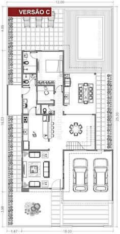 Take down wall between K and LV rooms. Bungalow Floor Plans, Modern House Floor Plans, Contemporary House Plans, Small House Plans, 2 Bedroom House Plans, Duplex House Plans, Home Design Plans, Plan Design, Architecture Blueprints