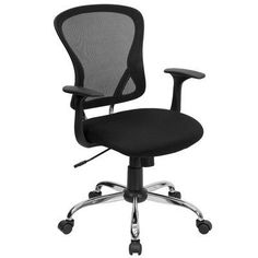 Add a stylish look to compliment a contemporary office space with this Flash Furniture Mid-Back Gray Mesh Swivel Task Chair with Chrome Base. Mesh Chair, Mesh Office Chair, Office Chairs, Office Desk, Office Furniture, Room Chairs, Cafe Chairs, Dining Chairs, High Chairs