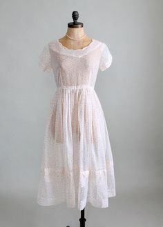 Vintage 1950s Sheer White and Red Dots Dress
