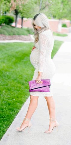 But a fashionista calls for the best Maternity Fashion Outfits that helps a lady flaunt the baby bump in the most charming yet sexy way as possible. Stylish Maternity, Maternity Wear, Maternity Dresses, Maternity Fashion, White Lace Maternity Dress, Maternity Wardrobe, Maternity Style, Lace Dress, Baby Bump Style