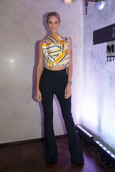 NikkI Phillips the Maticevski SS16 Admirable Bodice in Stripe Defending Flares in Ink Rib at the Myer Autumn Racing Season Launch | tonimaticevski.com
