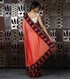 Orange Chanderi Silk Saree with Velvet Badla Work Borders, by Rohit Bal