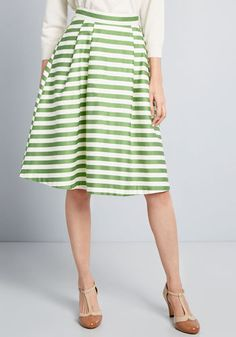 17faf1feb ModCloth Dusk and Stunner Midi Skirt Green Stripe Plus Size Skirts, Color  Stories, Dusk