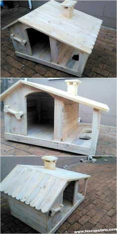 This is a simplest pallet wood dog house that is also advanced with food bowls at the side. so let's start working on it. you can also write the name of Wood Dog House, Pallet Dog House, Large Dog House, Dog House Plans, Wood Dog Bed, Building A Dog Kennel, Diy Dog Kennel, Kennel Ideas, House Building