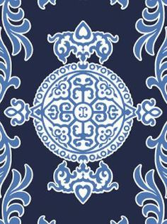 Halie Wallpaper in #Navy. #thibaut #design