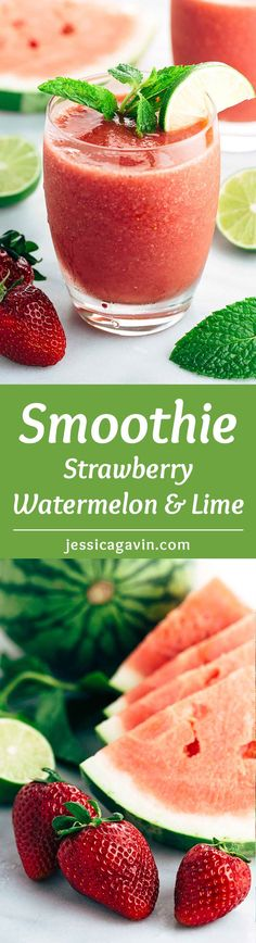 Strawberry Watermelon Lime Smoothie Recipe - A refreshing cold drink for the summertime heat, just four ingredients and ready in 5 minutes | jessicagavin.com