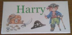 Personalised plaque with your childs name put posted. Bedroom Door Signs, Bedroom Doors, Personalized Plaques, Pirate Treasure, Childrens Gifts, Kids Bedroom, Pirates, Crafty, Baseball Cards