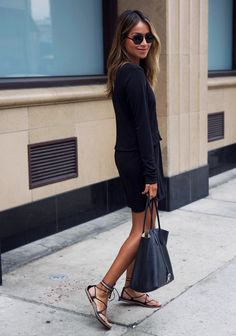 LBD. | Sincerely Jules SINCERELY JULES 'Savoy' dress ILLESTEVA round sunnies MADEWELL strappy sandals ROCHAS tote bag