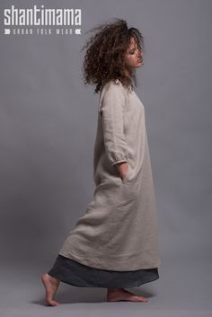 Outfit 3 pieces Linen Dress NIKA Long Linen Underdress
