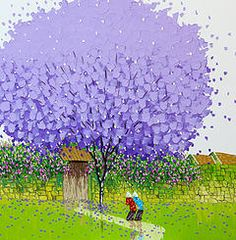 (Vietnam) Purple phoenix season by Phan Thu Trang ). oil on canvas. Knife Painting, Coming Home, Home Art, Techno, Oil On Canvas, Vietnam, Seasons, Purple, Gallery