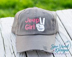 1519a0d3 Jeep Girl with Jeep Wave Hat, Custom Trucker Hat for Women, Jeep Girl  Distressed Baseball Cap, High Ponytail Hat with Jeep Wave