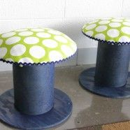 Electrical Spool Child-Sized Stools from The Lovely Cupboard.  I wonder where I can find spools like these?  I would love to do this for my classroom!