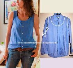 make a summer top from jean shirt.  Moda e Dicas de Costura: RECICLAGEM E APLICAÇÕES
