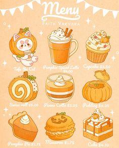 Cute Food Drawings, Cute Animal Drawings Kawaii, Sweet Drawings, Arte Do Kawaii, Kawaii Art, Cute Food Art, Cute Art, Kawaii Stickers, Cute Stickers