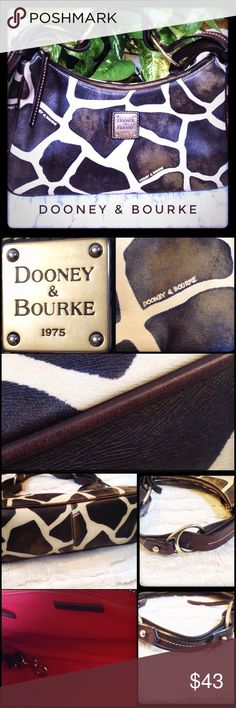 """Sassy Dooney & Bourke Handbag What a fun Dooney & Bourke Handbag. The body is a faux giraffe and all the trim is a thick saddle leather. The unique design is eye catching and has the variance in color and feel that makes it a """"go to"""" with any attire. This bag is in great condition with little wear at all externally (small wear on strap). The only visible wear is on the internal lining. No rips or tears, but a little wear showing inside. This is a very fun and roomy D&B! Enjoy! Dooney…"""