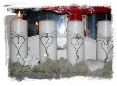 Advent wreath -- except use colored (purple/pink ribbon)