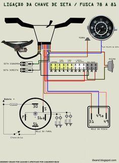 Resultado de imagen para esquema eletrico da kombi 75 folga no volante Volkswagen Karmann Ghia, Volkswagen Bus, Vw T1, Vw Super Beetle, Vw Pointer, Carros Vw, Vw Baja Bug, Vw Cabrio, T1 Bus