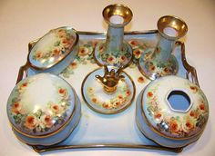 "1900's Austria Hand Painted ""Petite Yellow Roses"" 10 Pc. Matched Dresser Set by Artist, ""Alfred"""