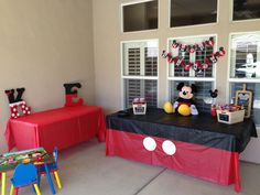 Mickey and Minnie Mouse bday party for twins