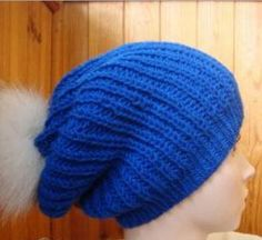 Cobalt Slouchy Hat | This hat knitting pattern looks amazing in bright blue.