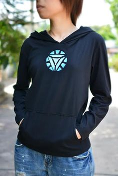 Iron man mark3 hoodie long sleeve with blue-white energy logo black hoodie