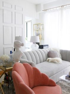 How to DIY a Channel Tufted Headboard, According to Two Pros Rental Decorating, Small Apartment Decorating, Hallway Decorating, Decorating Ideas, Interior Decorating, Decor Ideas, Apartment Chic, Apartment Therapy, Studio Apartment