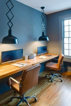Home Office Home Decor Ideas. Modern Home Office Interior Design. How to decorate your home office in a mid century modern style. Modern home office inspiration. Mesa Home Office, Home Office Space, Small Office, Home Office Desks, Men Office, Double Desk Office, Desk Space, Office Ideas For Work, Garage Office
