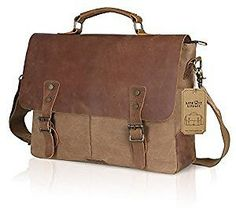Lifewit 15.6 Inch Leather Laptop Messenger Satchel Bag Canvas Briefcase, Coffee