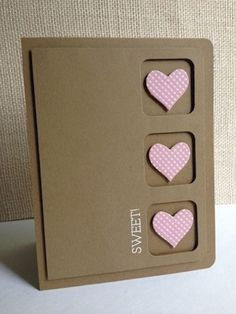 handmade card ... kraft .... clean and simple .... three windows ... pink hearts inside ... like the design