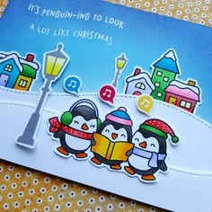 I just love penguins. I got the Here We Go a-Waddling stamp set by Lawn Fawn, from my brother for my birthday. Super cute. I combined it wit...