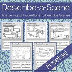 This is a free product for practicing answering wh- questions and describing scenes. It is to be used along side a teacher, parent or speech therapist as the child will be answering the questions verbally. If you enjoyed this freebie please give feedback Speech Therapy Activities, Language Activities, Articulation Activities, Cognitive Activities, Articulation Therapy, Reading Activities, Speech Language Pathology, Speech And Language, Wh Questions