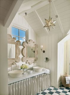 """Love the mirrors.  You'd think two would be too many, but their """"heft"""" (and over-lapping the window) provide the anchor for an interesting room.  desiretoinspire.net - m.elle"""