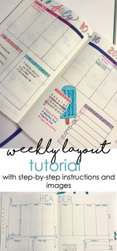 Weekly layout tutorial for your bullet journal with step by step instructions and pictures