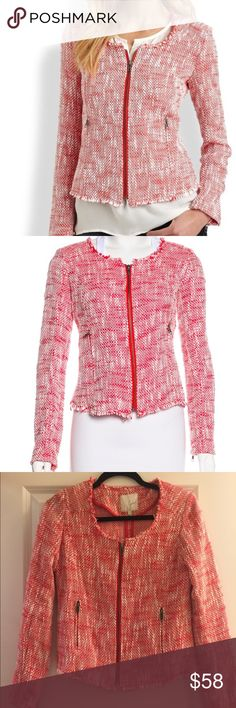 """Joie Tweed Fringe Jacket Beautiful Tweed Jacket by Joie. Red and white Joie long sleeve tweed jacket with textured pattern throughout, crew neck, dual zip pockets at sides, raw-edge trim and exposed button closure at front. Size Small.  Waist: 29"""" Length: 23"""" Sleeve: 23.5"""" Shoulder: 17.5"""" Bust: 32""""  Condition: Very Good. Light wear throughout. Fabric: 88% Cotton, 12% Polyester Joie Jackets & Coats"""