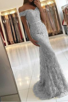 Prom Dresses For Teens, Silver Prom Dress,Lace Prom Dress,Mermaid Evening Dresses Off Shoulder,Elegant Formal Gowns Short prom dresses and high-low prom dresses are a flirty and fun prom dress option. Mermaid Prom Dresses Lace, Grey Prom Dress, Prom Dresses 2018, Grad Dresses, Prom Party Dresses, Lace Dress, Lace Mermaid, Dress Formal, Formal Gowns