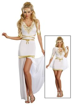 Travel to Mount Olympus for Halloween in this Goddess of Love Aphrodite Costume. You will have all of the male attention you want!