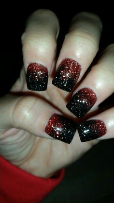 Red & black glitter acrylics Halloween nails!