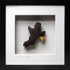 Cherub and gold heart hand crafted from Irish bog in dark wooden frame. Irish Wedding, Cherub, Cool Gifts, Love, Cool Stuff, Frame, Crafts, Amor, Picture Frame